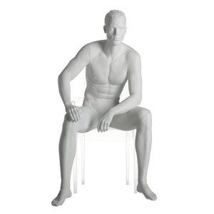 maniqui hombre sentado esculpido realista